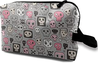 Skulls In Pink On Grey Travel Makeup Cute Cosmetic Case Organizer Portable Storage Bag for Women
