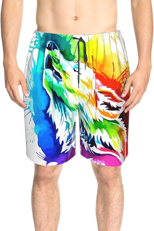 Mens Bathing Suits Colorful Howling Wolf Beachwear Board Shorts Drawstring Elastic Swimwear Bathing Suits with Mesh Lining
