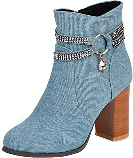 TAOFFEN Women Elegant Denim Boots Block High Heels Zipper