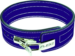 Leather Weight Lifting and Powerlifting Belt - Back Support Belt with Steel Quick Release Buckle
