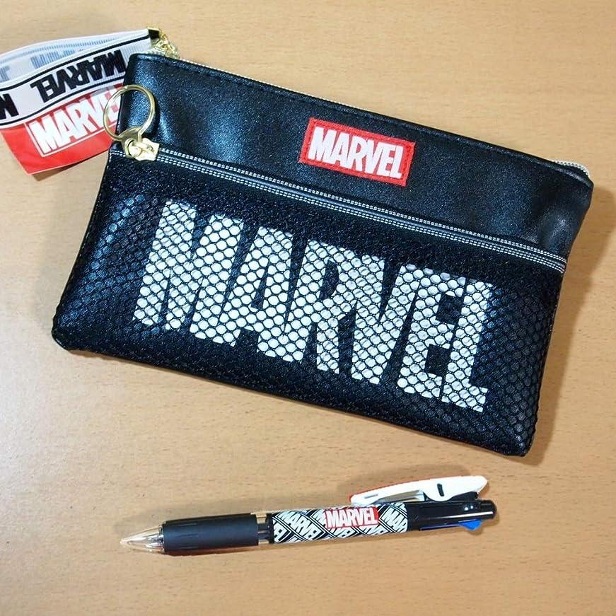 戦う粘土師匠マーベル(MARVEL) メッシュポケット付きフラットペンケース&3色ボールペンのセット 49590-12/ブラック/文具セット