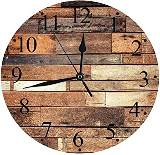 ساعة الحائط صامتة خشبية خشبية الألواح الطابقية طباعة جروني نظرة مزرعة البلد نمط الجوز البلوط الحبوب صورة الجدار ساعة