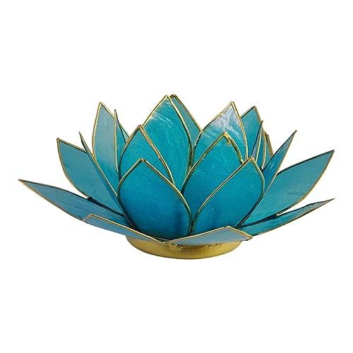 The Crabby Nook Lotus Tea Light Candle Holder Capiz Shell Decorating Accent Home  Decor (Aqua