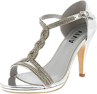 ae48c200 Viva Mujer Diamante T-Bar Medio Talón Boda Fiesta Metálico Sandalias Zapatos