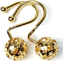 Love Creative Gold Shower Curtain Rings Hooks Easy Roller Ball Shower Curtain Rings Hooks 12 Count