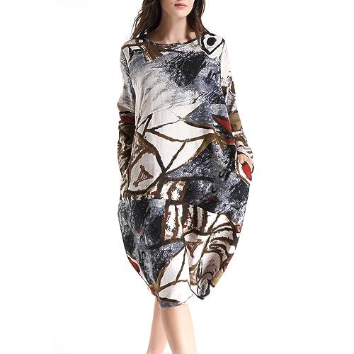 a04587438 ELLAZHU Women Spring Cotton&Linen Bohemia Print Midi Dress OneSize