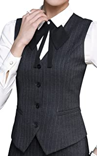 Foucome Women's Pinstripe Formal Casual Suit Slim Fit Button Down Vest Waistcoat