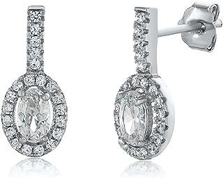 Montage Jewelry Women's Sterling Silver & Cubic Zirconia Oval Drop Bridal Earrings