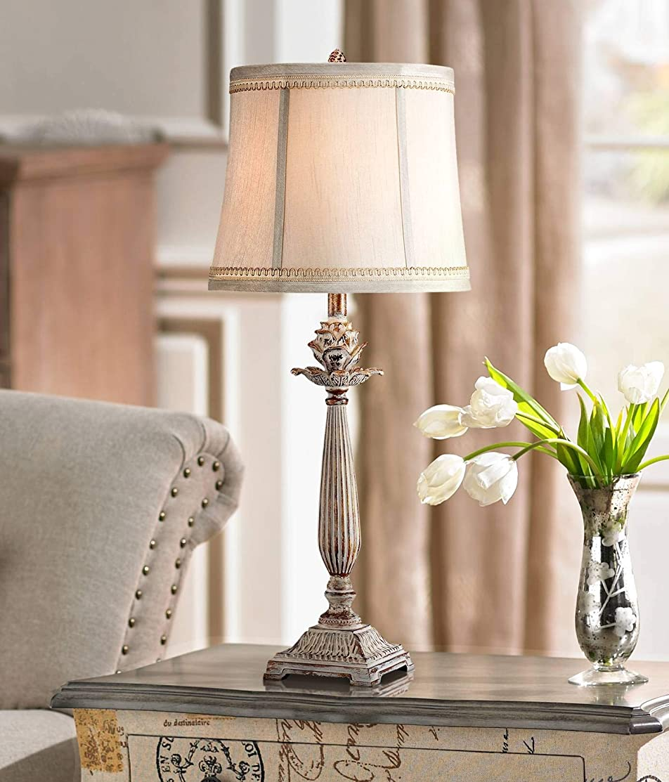 Chic Table Lamp Antique White Washed Petite Artichoke Font Beige Fabric Bell Shade for Living Room Family Bedroom - Regency Hill