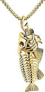 Acier inoxydable Arête de poisson poisson entier Squelette Collier Pendentif Chaîne Bijoux