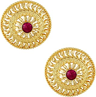 MEENAZ Traditional Temple 1 One Gram Gold Studs Ethnic 18k Brass South Indian Meenakari Screw Back Round Ruby Pink Stone S...