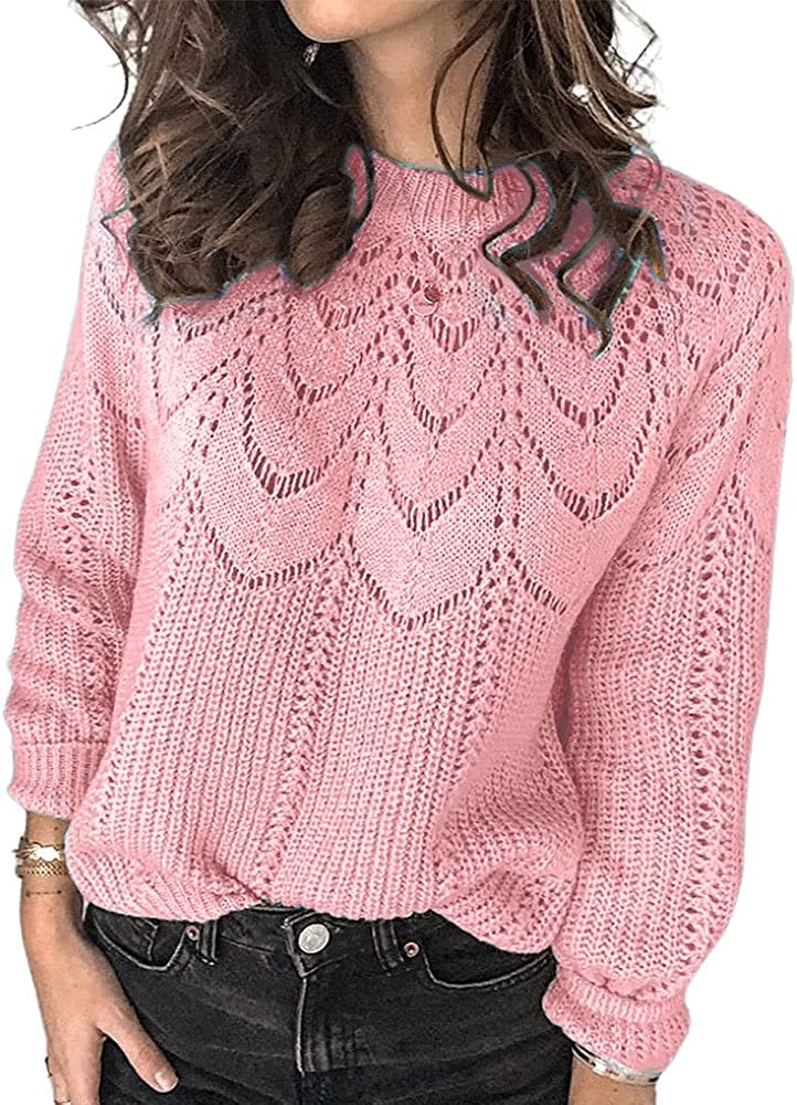 Womens Crewneck Long Sleeve Hollow Out Knit Sweater Solid Casual Loose Pullover Jumper Tops