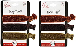 Mia Tony Ties 2 in 1 Hair Accessory + Bracelets, Basic Knotted Elastic Ribbon Rubber Bands, Sparkly, Giltter Hair Accessory, Orange, Bronze Brown, Gold 2pks/6pcs