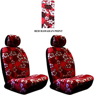 Set of 2 Universal-fit Hawaiian Low Back Front Bucket Seat Cover with Separate Headrest Cover for Seats - Red Hawaii Hibiscus Floral Print
