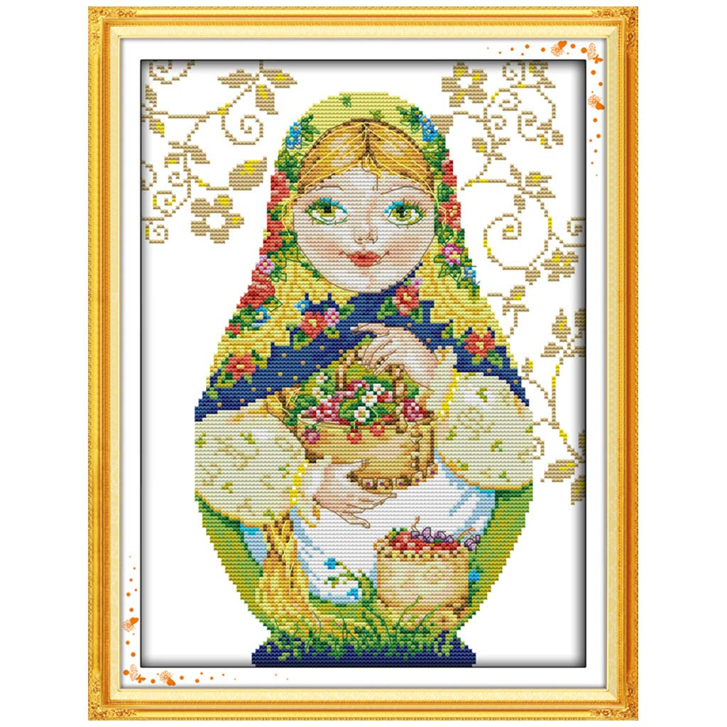 YEESAM ART New Cross Stitch Kits Advanced Patterns for Beginners Kids Adults Couple Love Doll 11 CT Stamped 32/×32 cm DIY Needlework Wedding Christmas Gifts