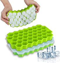 Ice Cube Trays, WETONG 2 Pack Silicone Ice Cube Molds with Lid Flexible 74-Ice Trays BPA Free, for Whiskey, Cocktail, Stac...