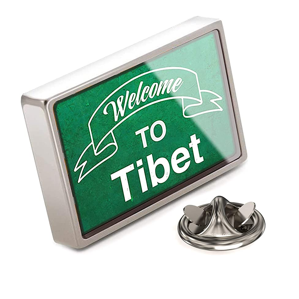 NEONBLOND Lapel Pin Green Sign Welcome to Tibet