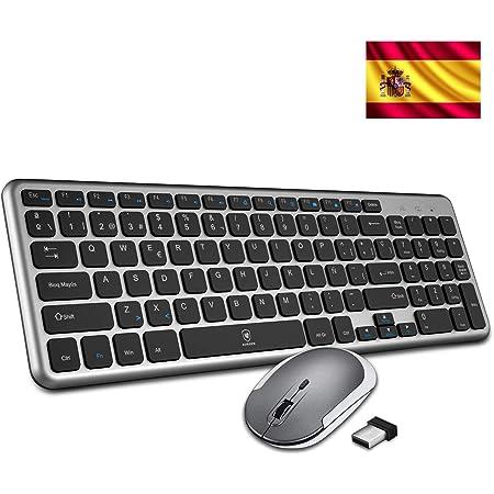 Aursen Teclado y Ratón Inalámbrico, (2.4 GHz, USB, 2 Zonas, QWERTY Español, Ultra Delgado) para Windows XP/VISTA/7/8/10, Mac