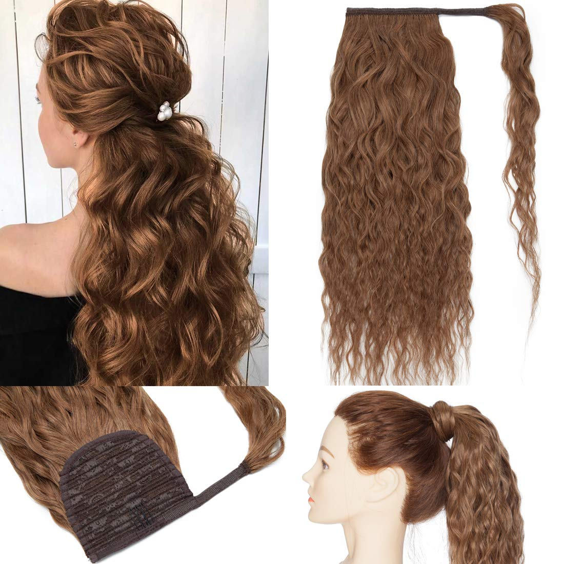 S-noilite Clip in Ponytail Extension Today's only Human Wavy Hair Free shipping anywhere the nation Corn A Wrap