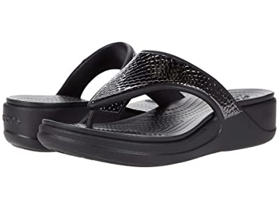 Crocs Monterey Metallic Wedge Flip (Dark Charcoal/Black) Women