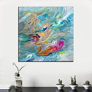 Peinture À L'Huile Peinte À La Main Sur Toile,Ondulation De L'Eau Colorées Tableau Abstrait Peinture Moderne De Grande Tai...