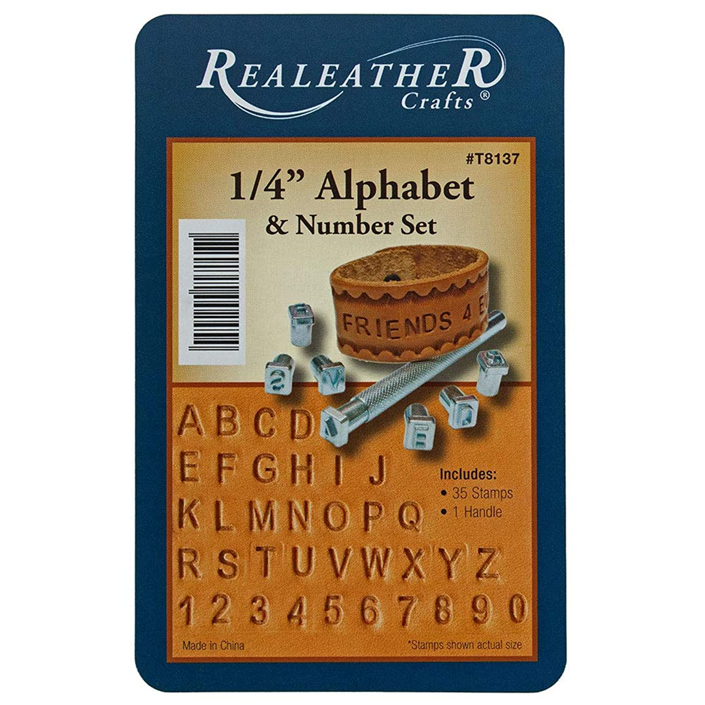 Craft County 1/4 Inch Metal Alphabet and Numbers Leather Stamp Set – 35 Stamps and 1 Handle – for Creating Bracelets, Art Pieces, and Necklaces