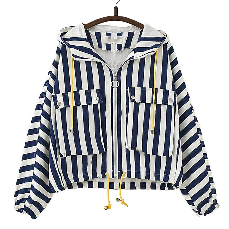 [美しいです] 春秋 女の子 コート 学院風 ゆったり ジャケット 日系 上着 ストライプ 森ガール 原宿風 可愛い トップス