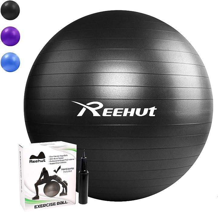 Palla da ginnastica resistente fino a 498kg anti-scoppio con pompa per fitness yoga e pilates reehut New