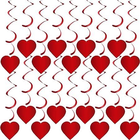 HOWAF 30 Pezzi Decorazioni Pendenti a Spirale di San Valentino Orso Ala Rosa Rossa Amore di Spirale per Appendere Addobbi a Cuore da Appendere per Matrimoni San Valentino Festa Decorazioni