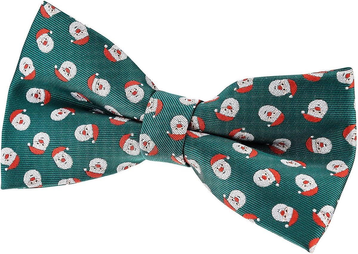 Retreez Christmas Happy Santa Claus Woven Pre-tied Bow Tie (5
