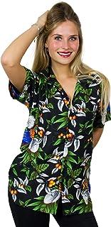 V.H.O Funky Hawaiian Blouse Women Short-Sleeve Front-Pocket Cherry Parrot Multiple Colors