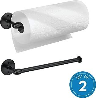 iDesign Orbinni Wall Mount Paper Towel Holder, Paper Towel Roll Holder For Kitchen and Bathroom - Matte Black, Pack of 2