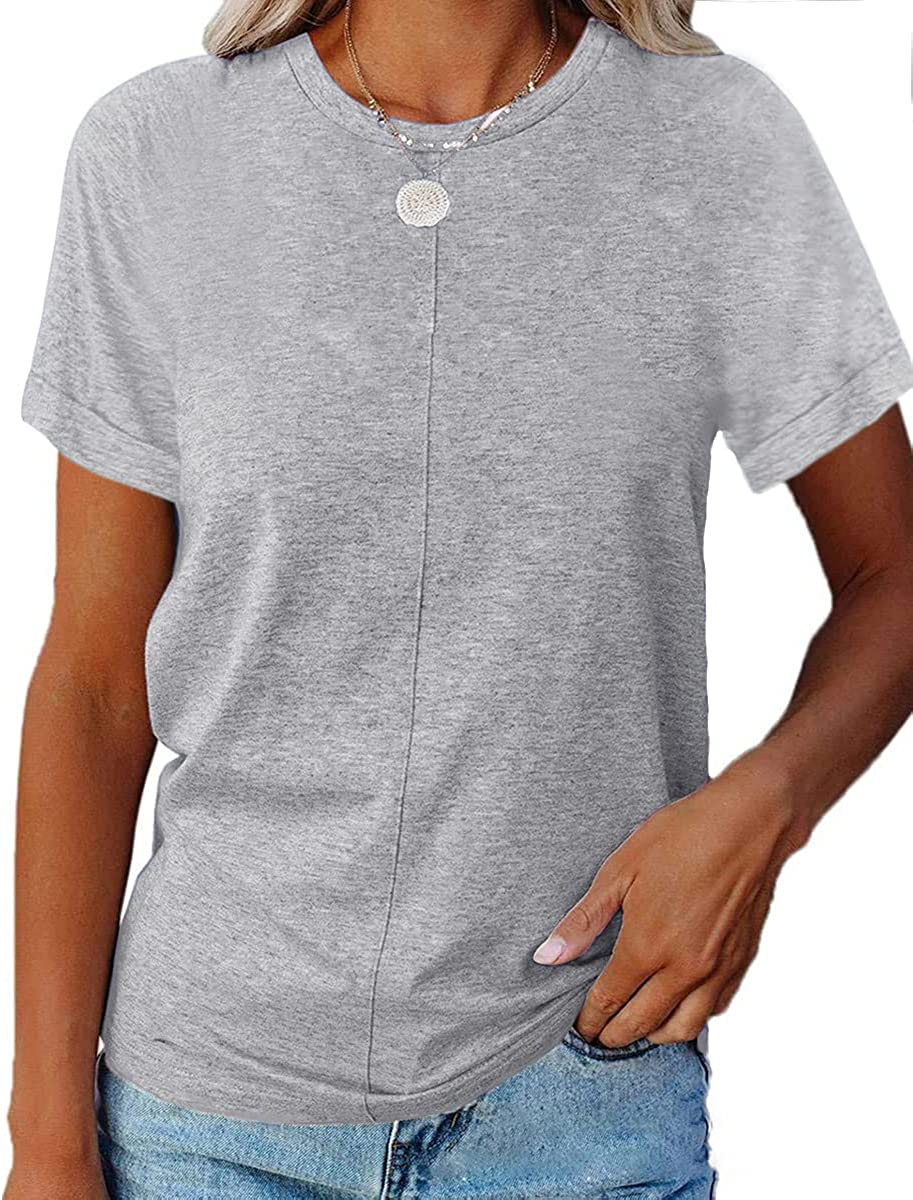 Women's Summer Short Sleeve Crew Neck Basic Roll Up Sleeve T Shirts Tops