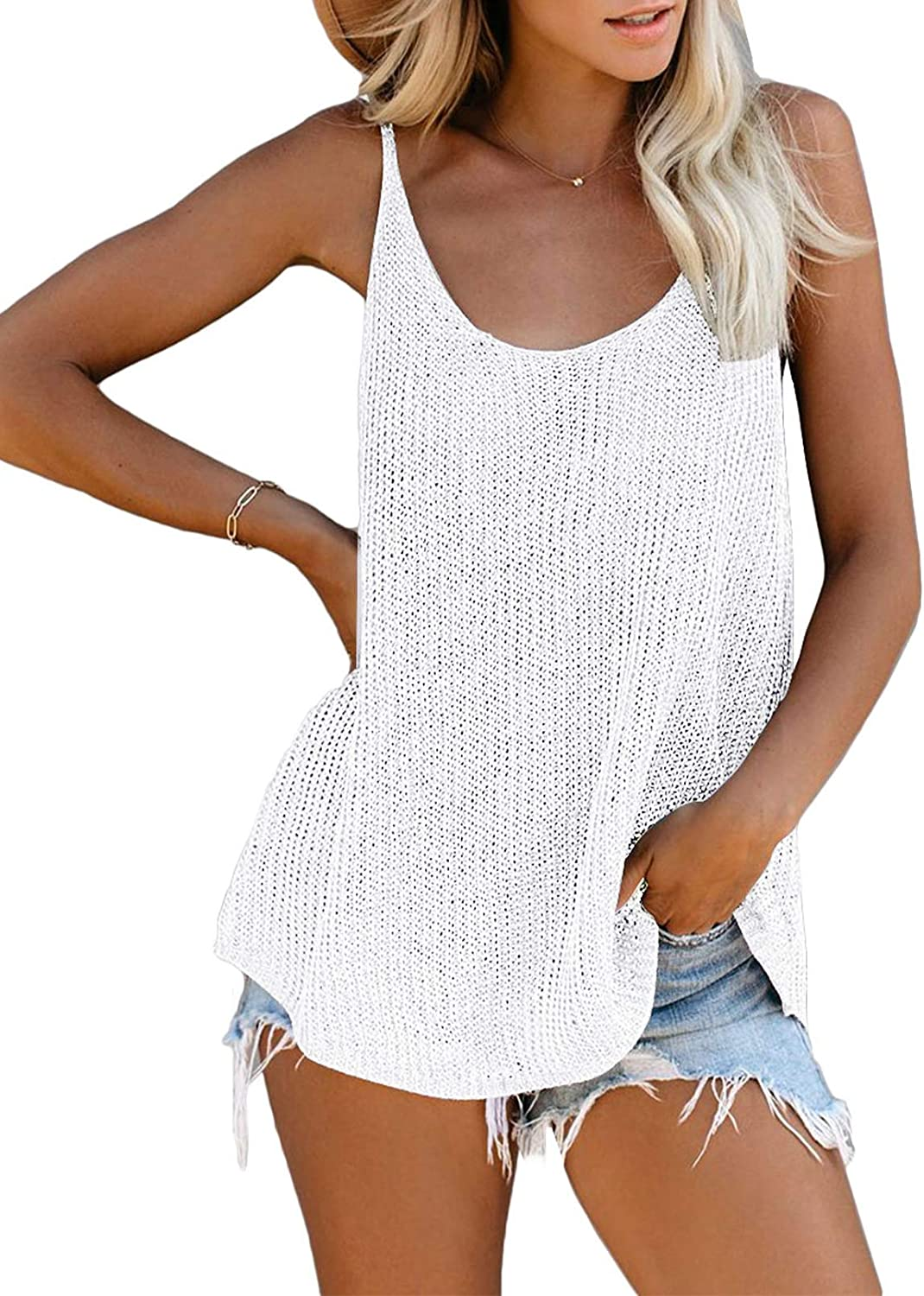 Zecilbo Womens Summer Loose Casual Sleeveless Shirts Scoop Neck Strappy Tank Tops Camis Blouses