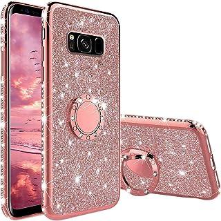 Cover per Samsung Galaxy S8 Glitter, Custodia Brillantini Lusso Diamanti con 360 Gradi Rotante Supporto, Antiurto Morbida ...