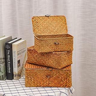 Ils - 3 pièces Panier de Paille en rotin boîte de Rangement Panier Serviette Chaussettes Organisateur