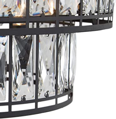 """Crystal Chandelier for Dining Room, 4-Light Round Chandelier for Living Room, Bedroom, 2-Tier, 15.5"""" Dia"""