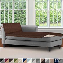 Sofa Shield Original Patent Pending Reversible Chaise Lounge Slipcover, 2 Inch Strap Hook, 102 Inch x 34 Inch Size Furniture Protector, Couch Slip Cover for Kids, Pets, Chaise Lounge, Chocolate Beige
