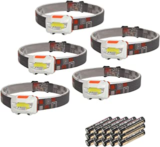 EverBrite COB Headlamp [5-Pack] – 150 Lumen, 3 Lighting Modes, Adjustable Strap Batteries Included, for Camping, Running, Hiking, Sports, Outdoor Head Lamp