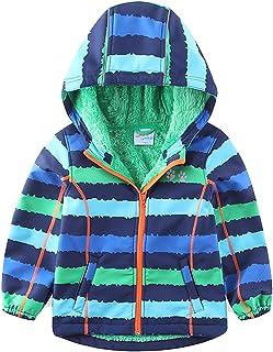 umkaumka Warm Windbreaker Jacket Kids Fleece Lined Hoodie 2-7T