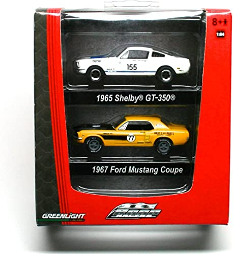 1965 SHELBY GT-350 & 1967 FORD MUSTANG COUPE  ROAD RACERS  Limited Edition 2009 Grünlight Collectibles Factory Die-Cast Vehicles by GL Muscle