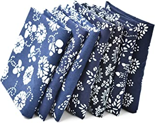 RayLineDo 7X Different Blue Pattern Chinese Han Folk Traditional Printed Craft Pure Cotton Fabric Fat Quarter Bundle 46 x 56cm (Appox 18