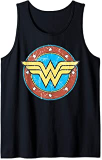 US DC Wonder Woman + Logo Circle Distressed 01 Débardeur