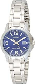 Casio Womens Quartz Dress Watch, Analog and Stainless Steel- LTP-V004D-2BUDF