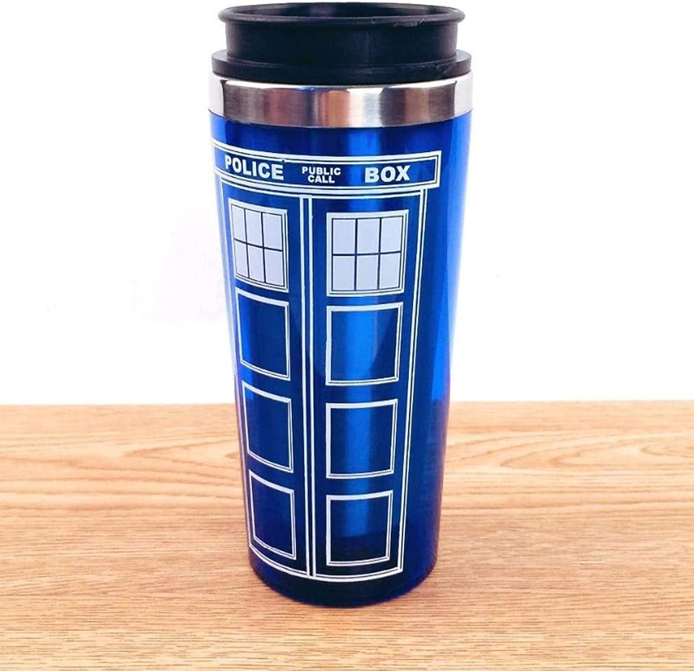 WWPP 16oz Doctor Dr. Who Tardis Taza de café con tapa Taza de café Taza termo de acero inoxidable Día de los maestros de Navidad Día del padre Año nuevo Regalos creativos.450Ml