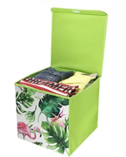 House of Quirk Foldable Fabric Basket Bin, Collapsible Storage Cube for Nursery Home, Kids and Toddlers - (Green Flamingo) 30x30x30cm