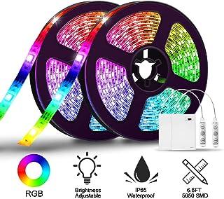LED Strip Lights Battery Operated,SOLMORE 6.6FT/2M RGB LED Light Strip SMD5050 60 LEDs Waterproof Rope Lights Led Lights for Room Color Changing Flexible LED Strip Kit for Party Indoor Outdoor (2Pcs)