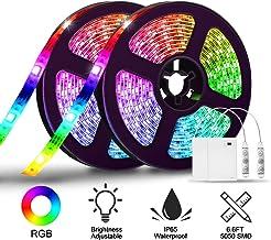 Tira LED RGB, SOLMORE 5050 SMD 2M Lighting Kit completo Portátil para iluminación de retroiluminación de TV y gabinete de cocina Controlador remoto de 3 teclas (2 piezas)