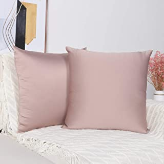 Mandioo Set of 2 Cozy Faux Silk Throw Pillow Covers Cases Decorative for Couch Sofa Home Solid Square 18 x 18 Inches, Light Pink