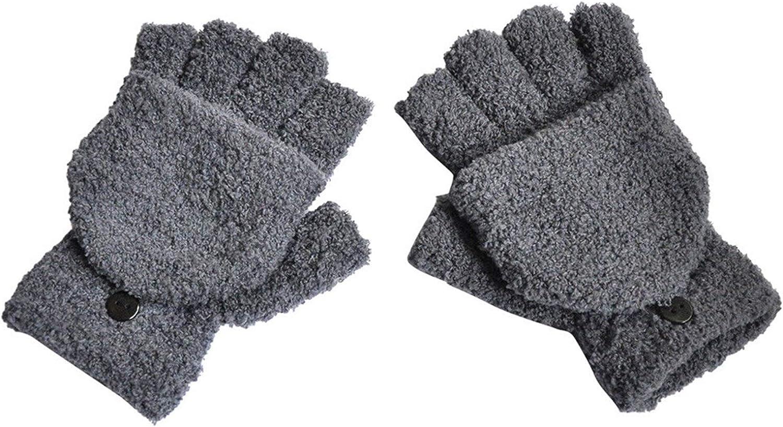 DZHT Winter Women Gloves Plus Velvet Thicken Half-Finger Flip Keep Warm Gloves Plush Mittens Soft Half Finger Gloves Mittens Black (Color : Gray, Gloves Size : One Size)